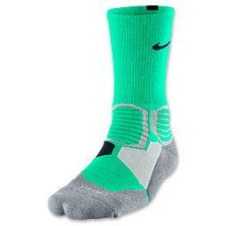 Men's Nike Hyper Elite Basketball Socks | FinishLine.com | Green Glow/Wolf Grey