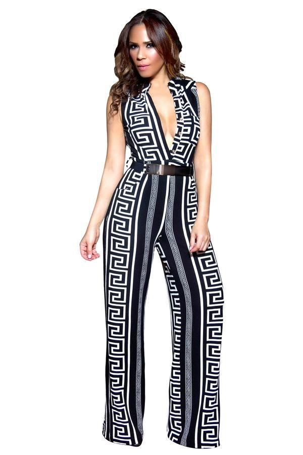 eea747c615c0 Classy Versace Print Black and White Belted Cocktail Jumpsuit - MY SEXY  STYLES
