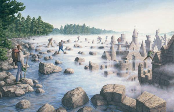 Reproduction de Rob Gonsalves, Stepping stones (Tremplins). Tableau peint à la main dans nos ateliers. Peinture à l'huile sur toile.