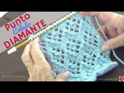 Punto Tejido de Diamantes - Puntada Calada en Diamantes - Encaje Tejido Geometrico - YouTube