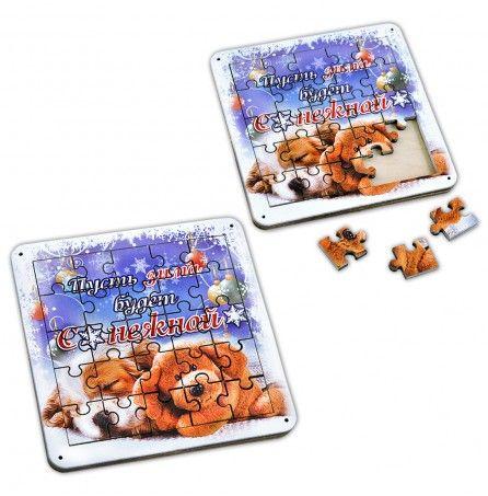 """Пазл-костер """"Пусть зима будет снежной"""" (поставка под чашечку чая и головоломка) – Профессиональные сувениры"""