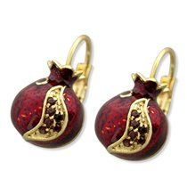 Marina Gold Plated Pomegranate Fashion Earrings with Garnet Stones | Jewish Jewelry