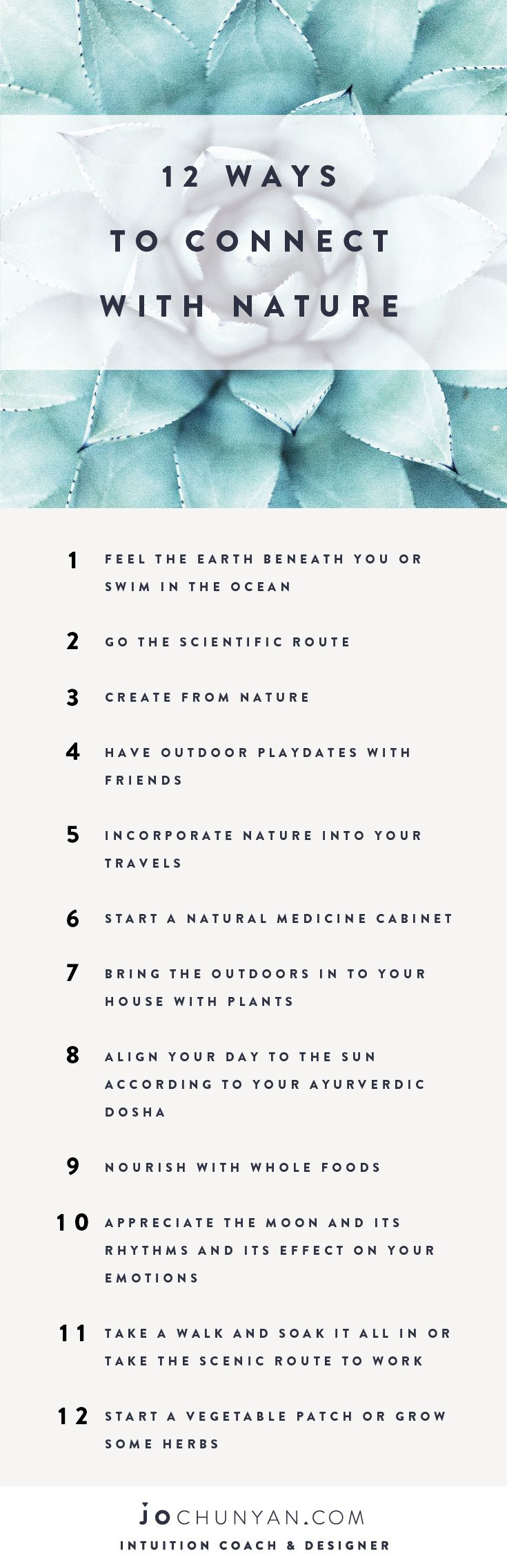 FREE PRINTABLE LIST :: REMINDERS :: 12 Ways To Connect With Nature. Click on the link for the full blog post.