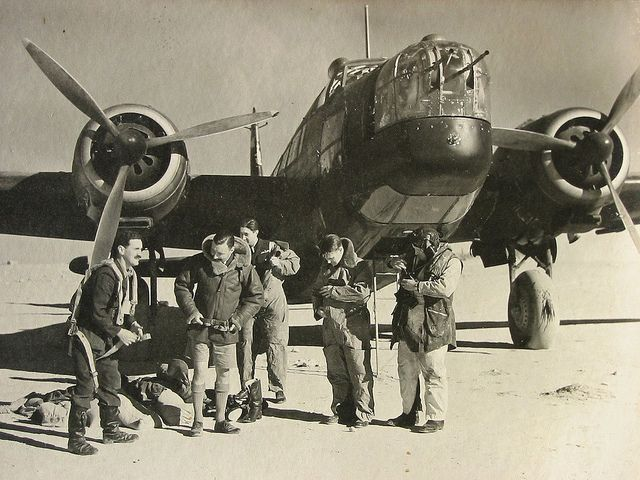 Wellington Bomber & Crew in Libya.