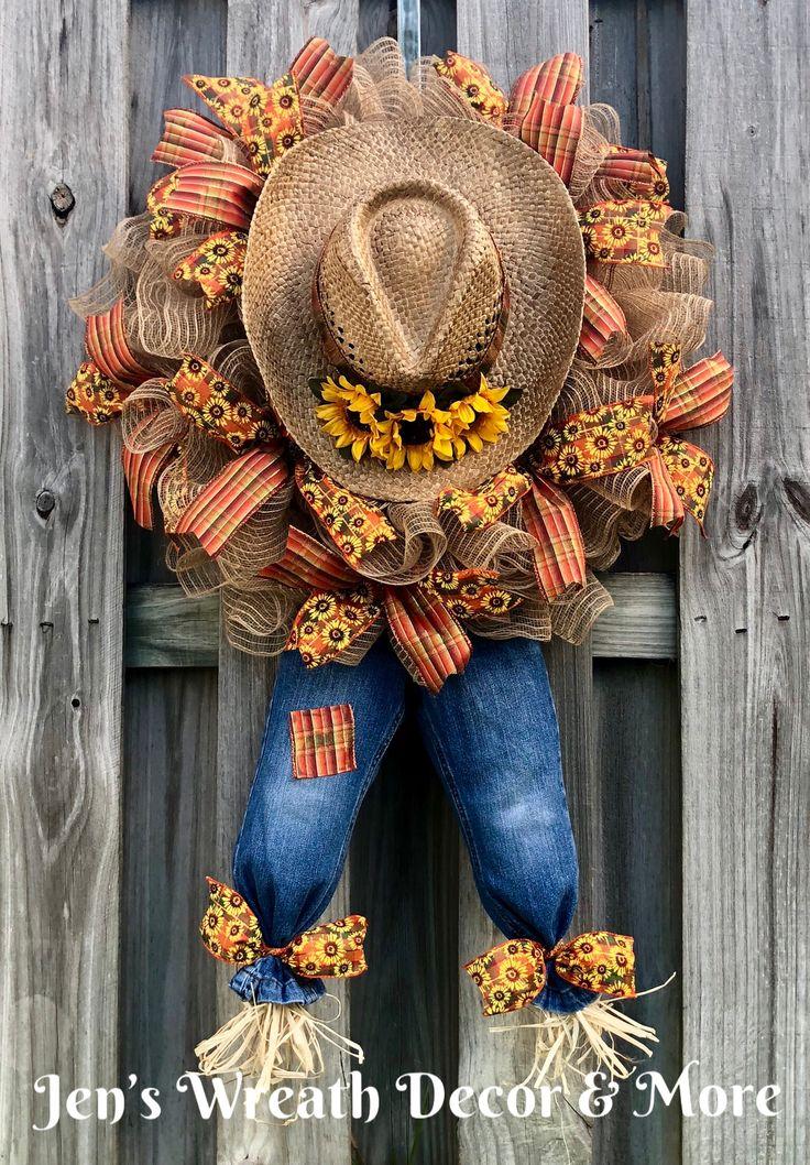 Scarecrow wreath, Fall wreath, Autumn wreath