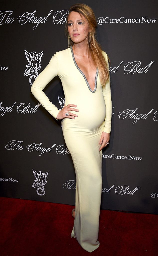 Blake Lively and her bump are flawless in a pale yellow silk Gucci gown!