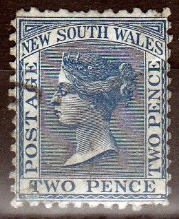 Queen Victoria stamp New South Wales Australia 1871 Blue 2d Lightly used UH
