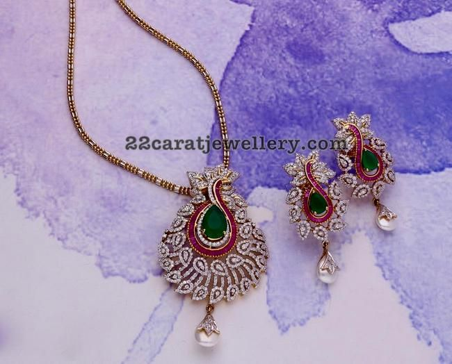 Peacock Diamond Pendant Jewellery Designs Diamond Pendant Sets Diamond Pendant Diamond Pendant Jewelry