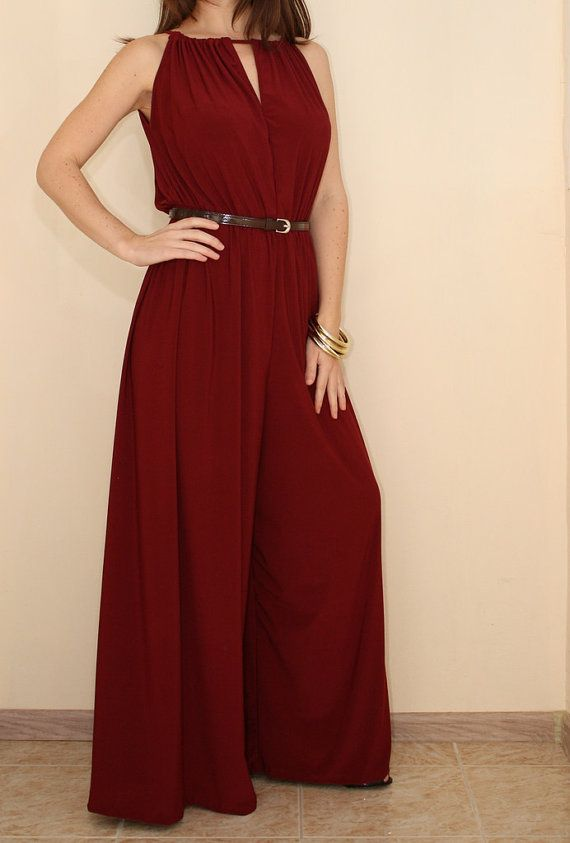 Wide Leg Jumpsuit Women Palazzo Jumpsuit in Burgundy by KSclothing