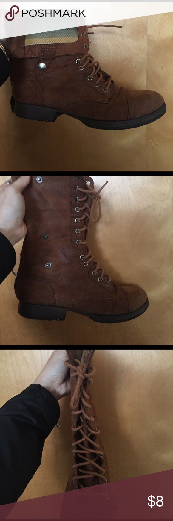 women's lace up boots Fake suede, lace up with zipper in back. Can be buttoned and folded down or worn all the way! Folded look falls upper ankle and zipped look falls lower calf. Super comfortable and cute! Shoes Ankle Boots & Booties