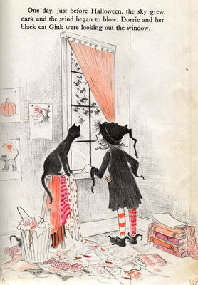 Dorrie the little witch and her kitty, Gink.  I adored the Dorrie books when I was a kid, and read every one the library had.