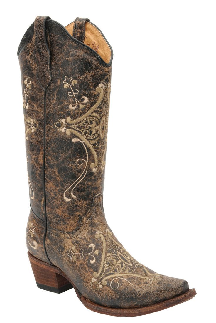 Corral Boots Womens Leather Circle G Crackle Black Embroidery Cowgirl