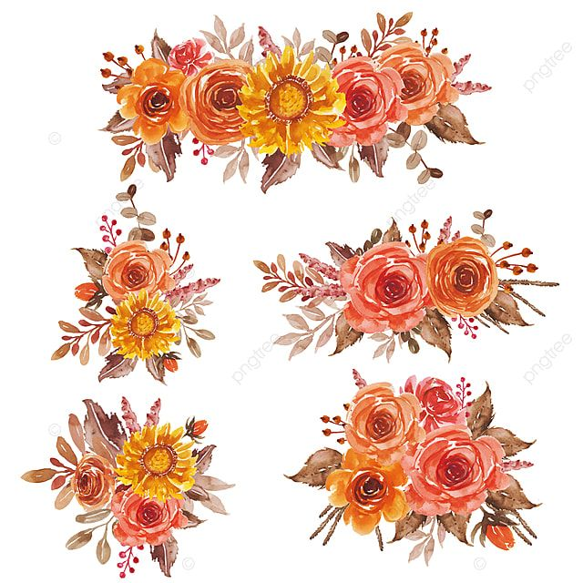 Watercolor Floral Red Orange Yellow Bouquet Arrangement For Wedding Invitation And Greeting Card Bouquet Arrangement Red Png And Vector With Transparent Back Flower Bouquet Painting Orange Flower Bouquets Floral Watercolor