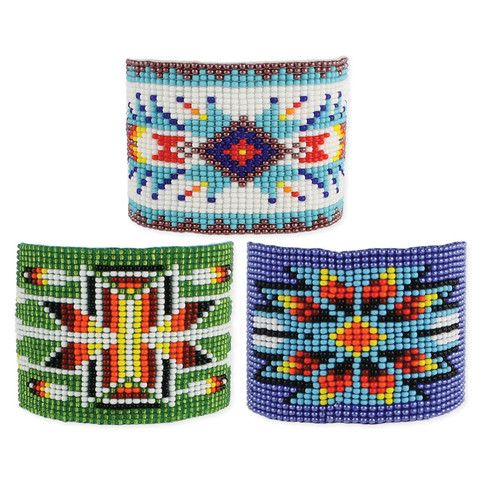 "Colorful woven bead bracelet with geometric fun patterns. Measurements (approx.): 6 1/2"" x 7 1/2"" long, 1 3/4"" wide Materials: Glass Beads Prepack Includes: Blu"