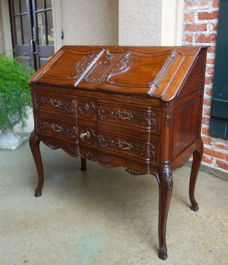 ~ Antique French Carved Oak Desk Secretary Bureau Louis XV Drop Front Rococo ~ ebay.com