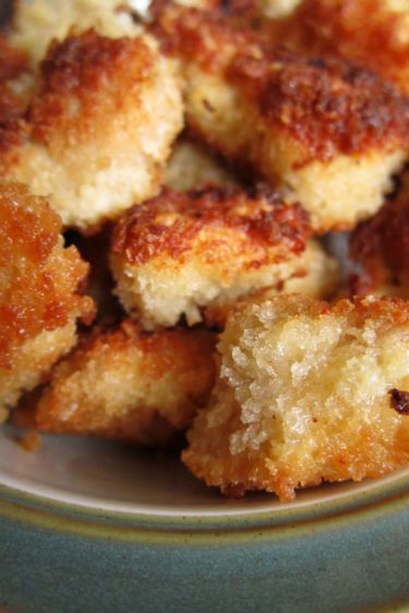 Popcorn Chicken .... We love the idea of doing Popcorn Chicken Bites at the children's food station at the weddings we cater. Yummers!!!