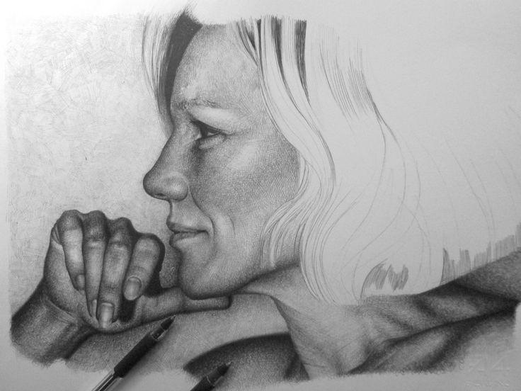 Josefa Idem disegno a BIC su carta 33x24cm Roma 2013