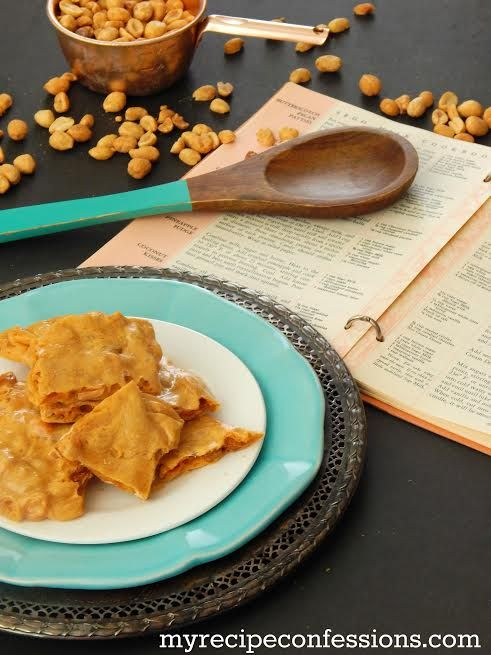 Easy microwave peanut brittle recipe, yum!