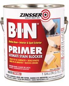 PAINTING | BONDING PRIMER :: Zinsser BIN Shellac-Based Primer :: Seals better & dries faster than a latex (or any other) primer & cures just as fast then paint over w/ any oil or latex. Use shellac primer when you have stubborn stains [water, ink, grease, mildew, nicotine, smoke stains/smells, etc. or wood knots] or when you have a a surface that might have bonding issues like painting latex over oil-based. It's very THIN (thus applies pretty easy) & stinks so ventilate well! | #primer