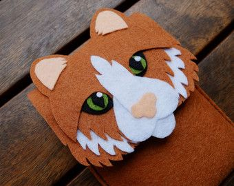 Cat Phone Case - Cell Phone Case - iPhone Case - Handmade felt brown case