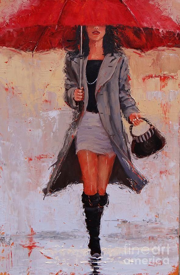 Classy city Girl walking in the Rain                                                                                                                                                      More