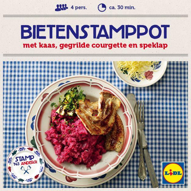 Recept voor Bietenstamppot met kaas, gegrilde courgette en speklap #Lidl #Stamppot