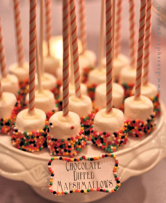Change the sprinkle colors to the wedding colors- for the candy buffet