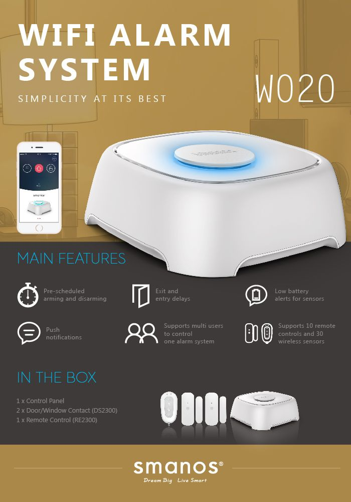 an entry-level WiFi burglar alarm system from #SmartHome sensation #GetSmanos!