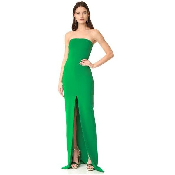 Solace London Aubrey Maxi Dress (540 CAD) ❤ liked on Polyvore featuring dresses, green, night out dresses, green jersey, front slit maxi dress, green dress and day party dresses