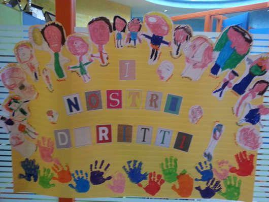 """Cartellone """"Giornata Internazionale dei Diritti dell'Infanzia"""" realizzato dai bimbi della scuola Leader Baby"""