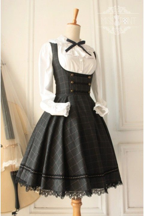 Cheap Vintage Earl Grey Tea College Style Wool Care Chest Grid Classic Lolita Jumper Dress – Fashion Lolita Dresses & Clothing Shop