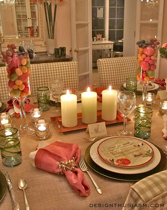 Tuscan tablescape from Designthusiasm.com   plates from #williamssonoma, napkins from #potterybarn, glasses from #pier1 #tablesetting #eventdecor #tablescape