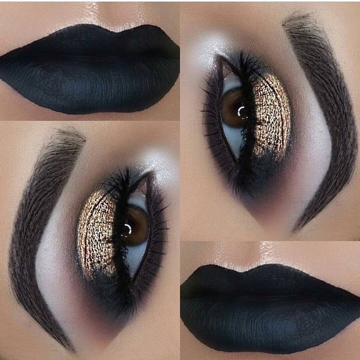 "Makeup Porn (@slay.makeup_) on Instagram: ""Black & Gold★@makeupby_av Eyes @toofaced Chocolate Gold palette @iikonn Lashes Brows…"""