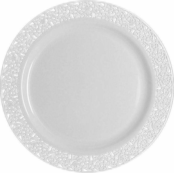 "Posh Party Supplies - 10.25"" Lace White/White Plastic Plates - 10 Plates, $9.59 (http://www.poshpartysupplies.com/posh-products/elegant-plastic-wedding-and-paper-plates/10-25-inspiration-white-with-white-rim-plastic-plates/)"
