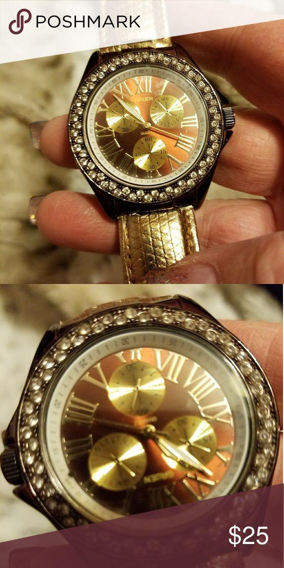 Gruen watch Stones circling face  gold strap Gruen Accessories Watches