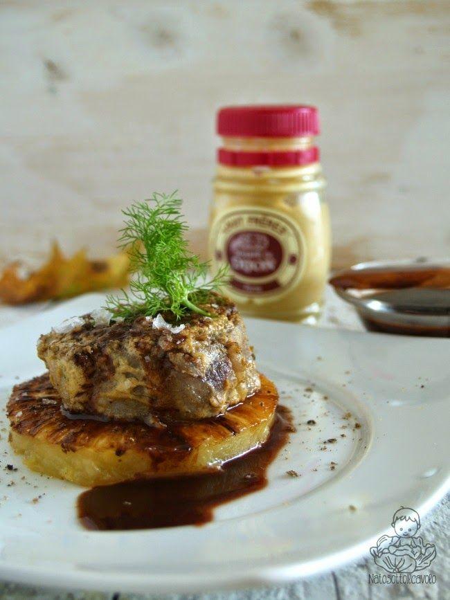natosottoilcavolo: Filetto di maiale con senape, ananas e riduzione al Marsala