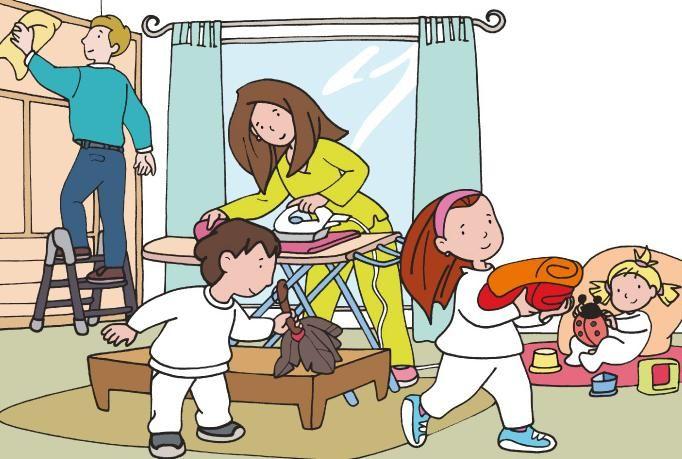 Las tareas domesticas - Que haces para ayudar en casa? Que hacen los otros miembros de tu familia?
