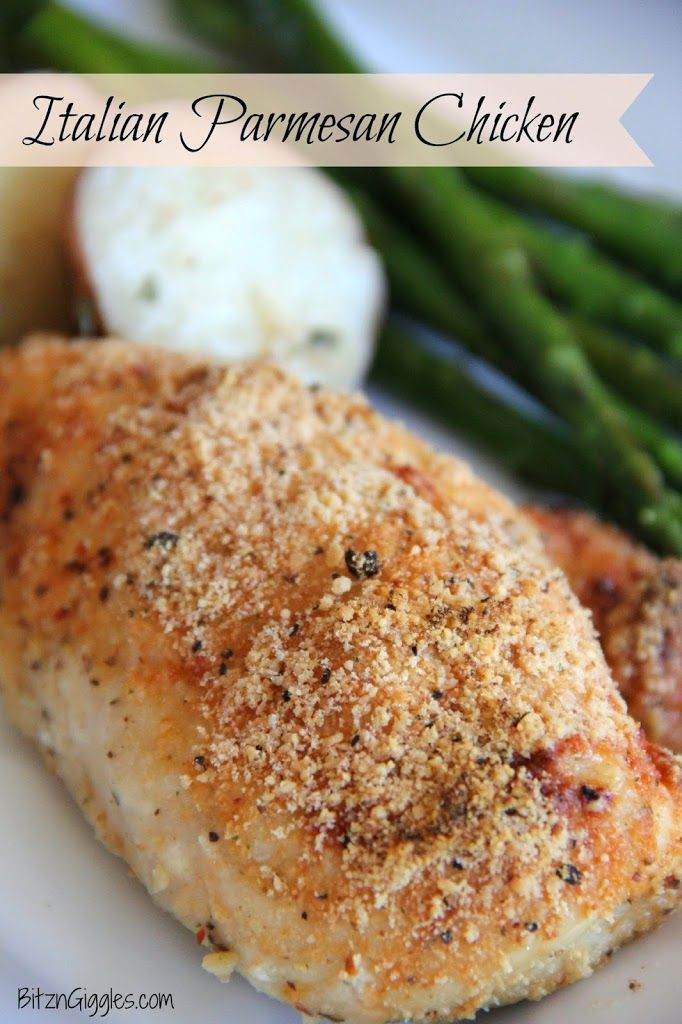 Italian Parmesan Chicken - Dressed with garlic powder, Italian dressing mix and Parmesan cheese then baked in the oven for about 30 minutes. Melt in your mouth! {BitznGiggles.com}