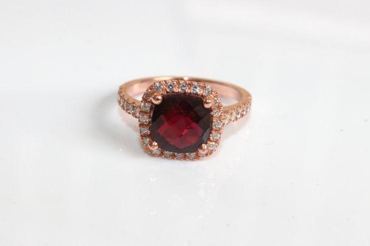 Rose Gold Halo Ring Bordeaux Diamond Cognac Gold Ring 14k