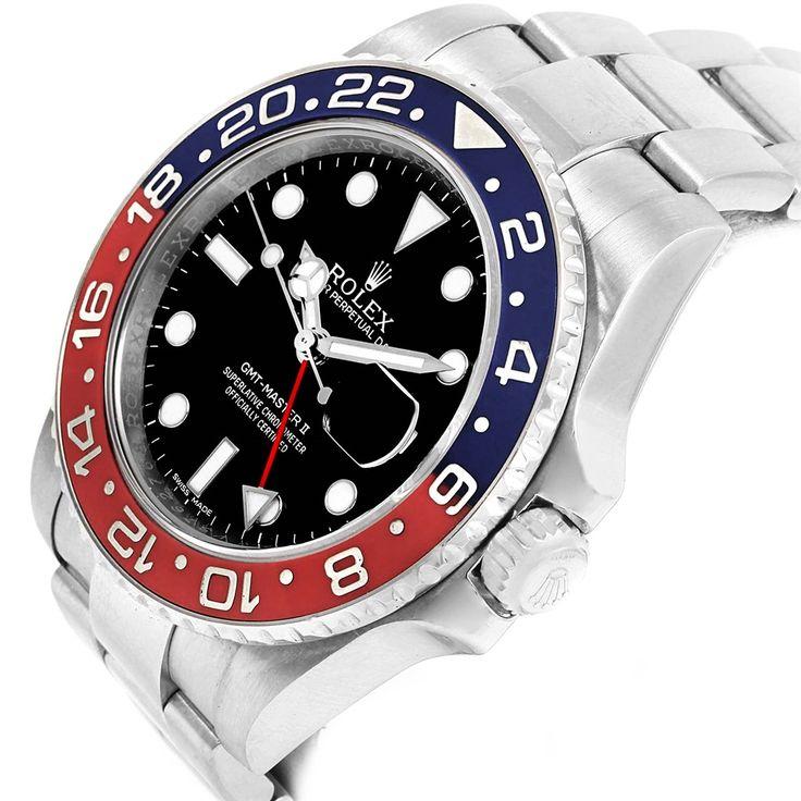14837 Rolex GMT Master II 18K White Gold Pepsi Bezel Mens Watch 116719 SwissWatchExpo