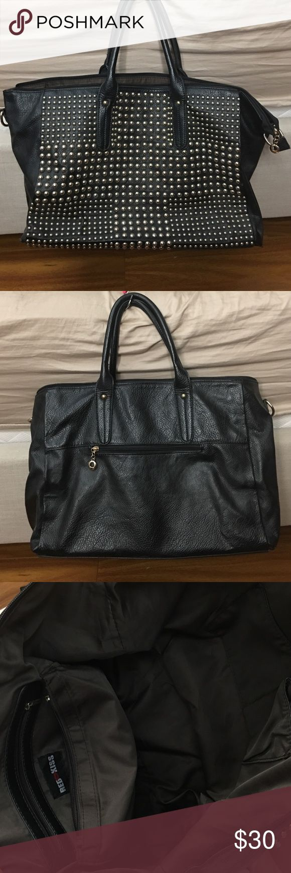Black Leather Studded Bag Pre-owned black faux leather studded bag. Still in good condition. Can be use as a weekend bag. Rings on both sides for strap. Does not include strap. Bags Travel Bags