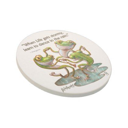 Stone Coasters: Frogs Dancing in Rain With Quote Sandstone Coaster - quote pun meme quotes diy custom