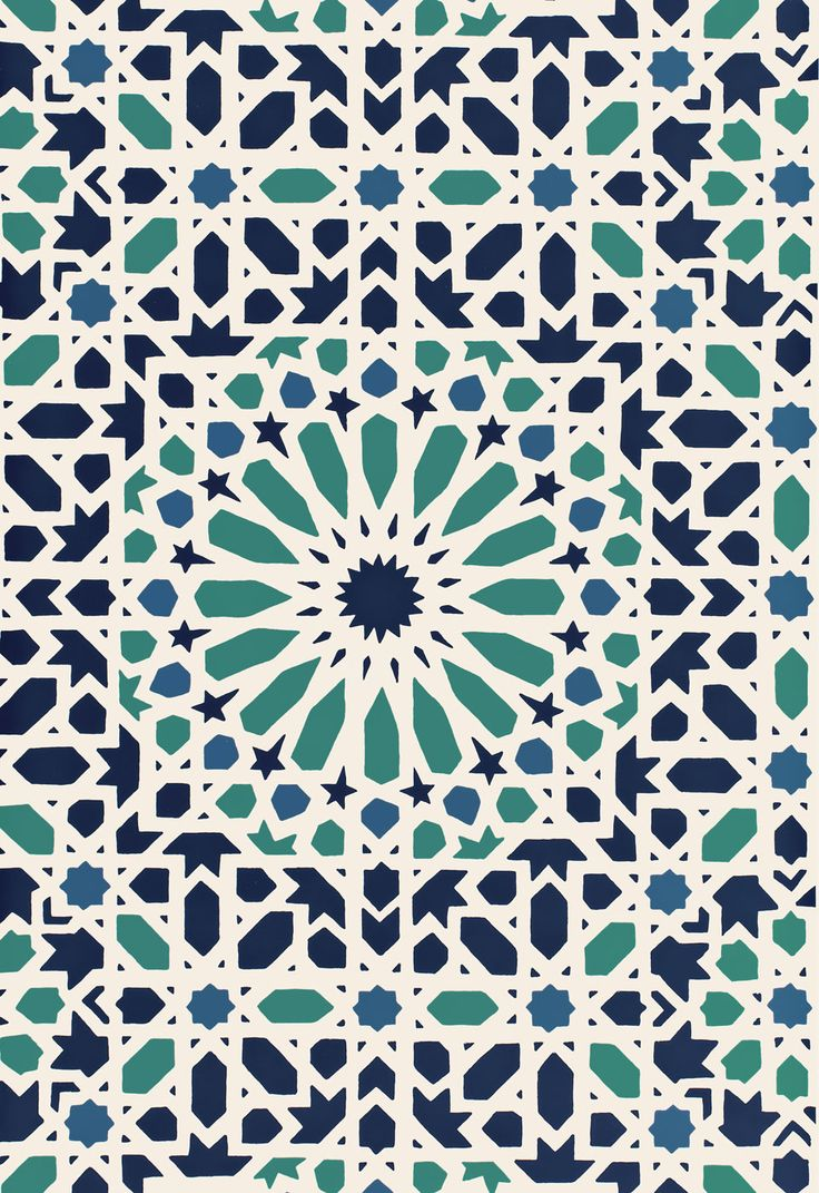 Wallcovering / Wallpaper | Nasrid Palace Mosaic in Aegean | Schumacher