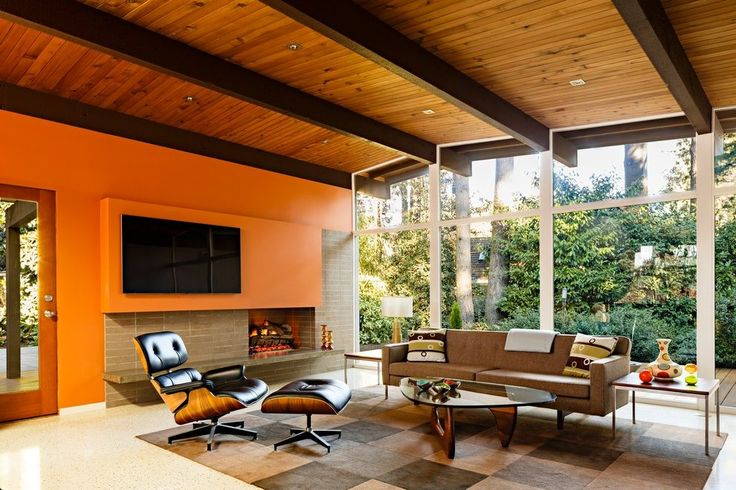 Mid century fireplace screen living room midcentury with floor-to-ceiling windows outdoor fireplace wood ceiling