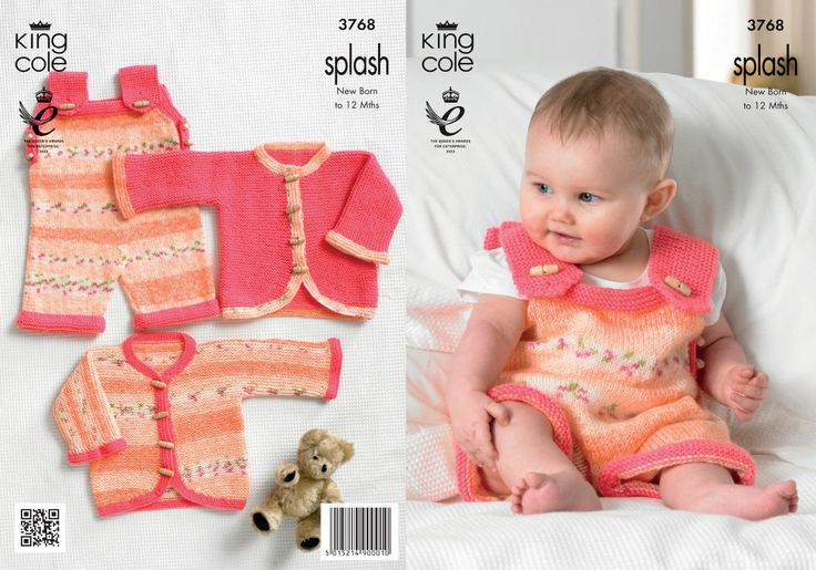 King Cole 3768 Knitting Pattern Baby Child dungerees and cardigans 0-12months DK new by Bobbinswool on Etsy
