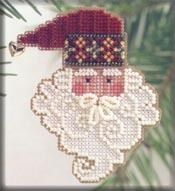 Mill Hill Santa Noel - Beaded Cross Stitch Kit. Kit Includes: Beads, metal snowflake or brass bell charm, 14ct perforated paper, needles, floss, chart and instr