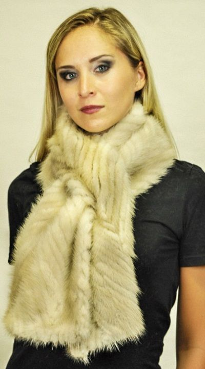 Beige mink fur scarf  www.amifur.co.uk