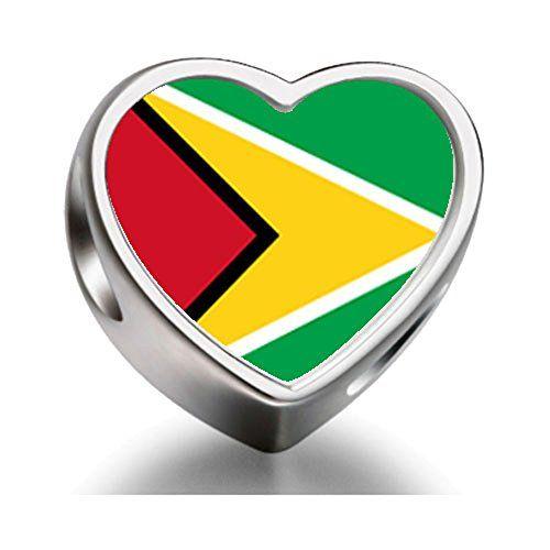 Guyana LOVE heart photo charm bead. Perfect for charm bracelets, necklaces, etc. On sale at http://lovemycaribbean.com/caribbean-shopping/guyana-flag-heart-photo-charm-beads/