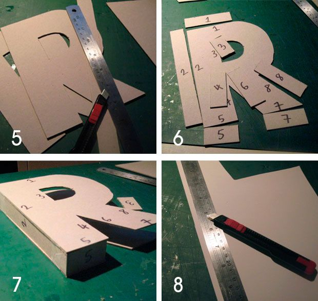 3d cardboard letter tute - glue, paper covered