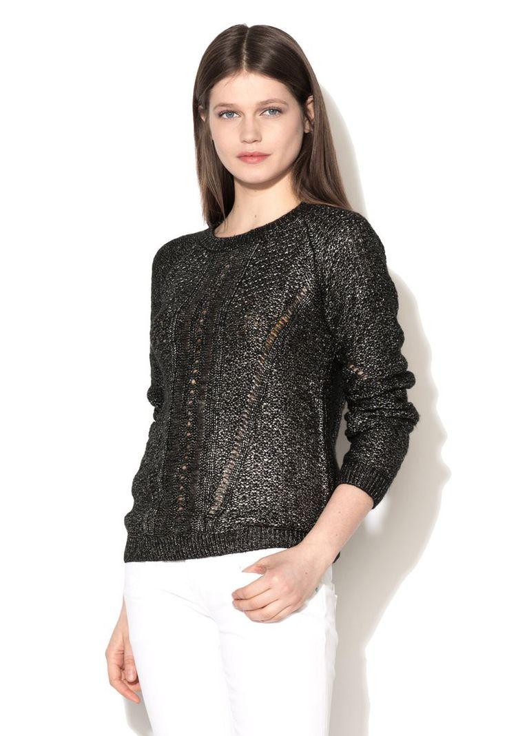 Pulover negru cu argintiu Boronia - Pepe Jeans London